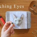 羊毛フェルト 猫の目の付け方☆Tutorial for attaching eyes to needle felted face.