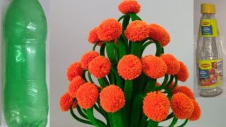 MAKE X-RAY AND WOOLEN FLOWER POT || WOOLEN CRAFT,HOW TO MAKE YARN FLOWERS || VASE OF PLASTIC BOTTLE.