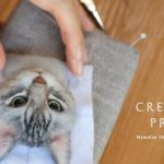 羊毛フェルトで猫を作る制作過程 A process of making a cat with wool felt.