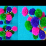 POM POM Guldasta || WOOLEN FLOWER POT, WOOLEN CRAFT,HOW TO MAKE YARN FLOWERS,VASE OF PLASTIC BOTTLE
